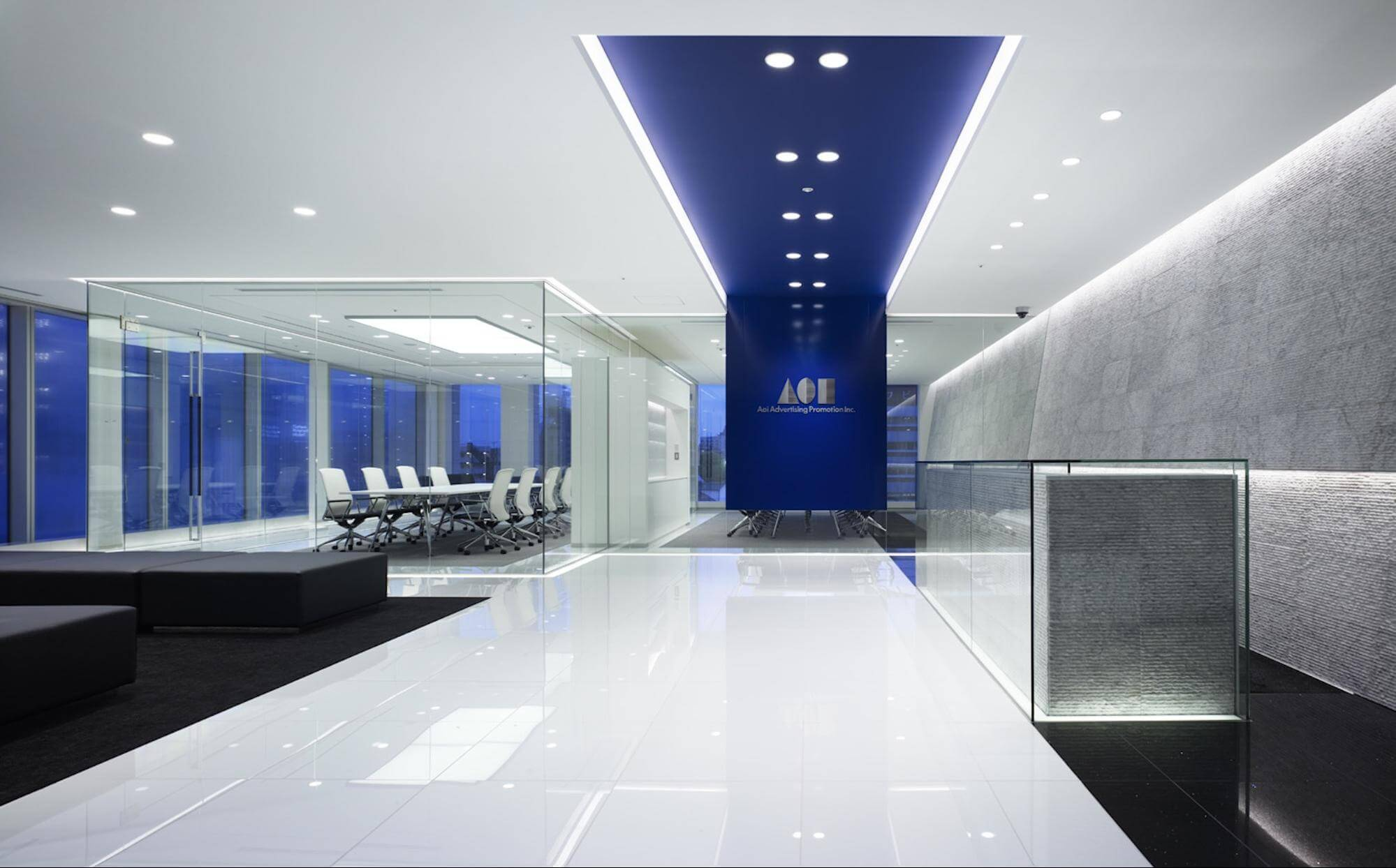 This professional-looking lobby illustrates the importance of brand design in creating impressions.