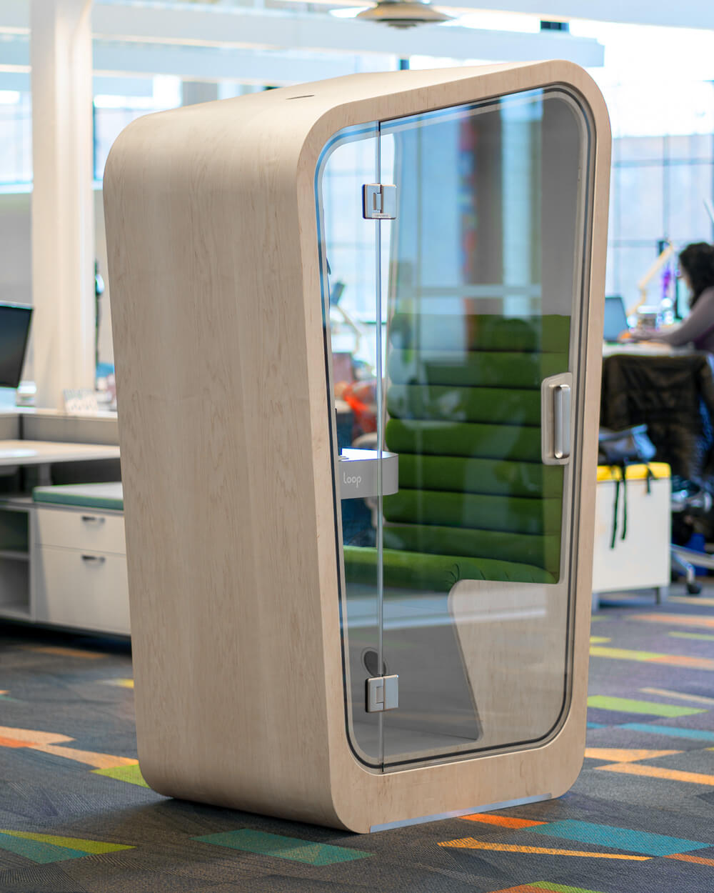 Green Interior Office acoustic office pods, modern phone booth,