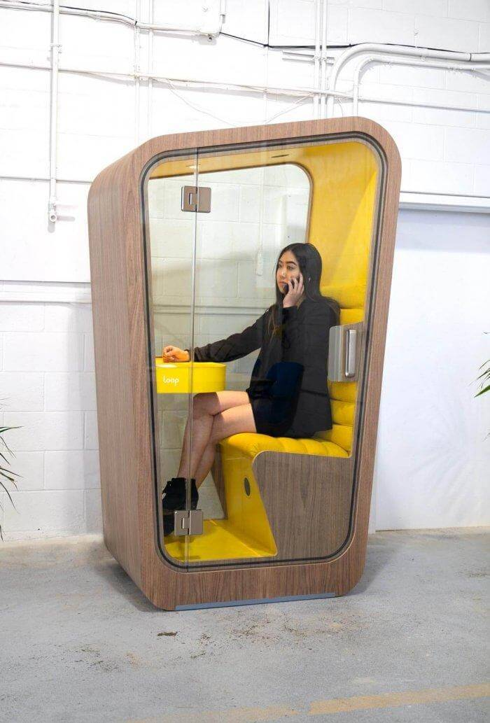 Privacy pods such as these from Loop can help provide employee privacy in the workplace.