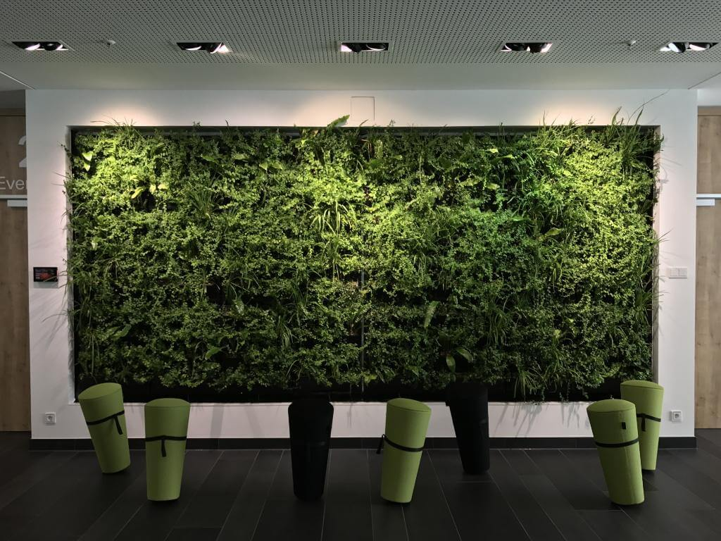 Heavy use of green plants in workspaces improves air quality, helps reduce energy costs, and even boosts employee morale and productivity.