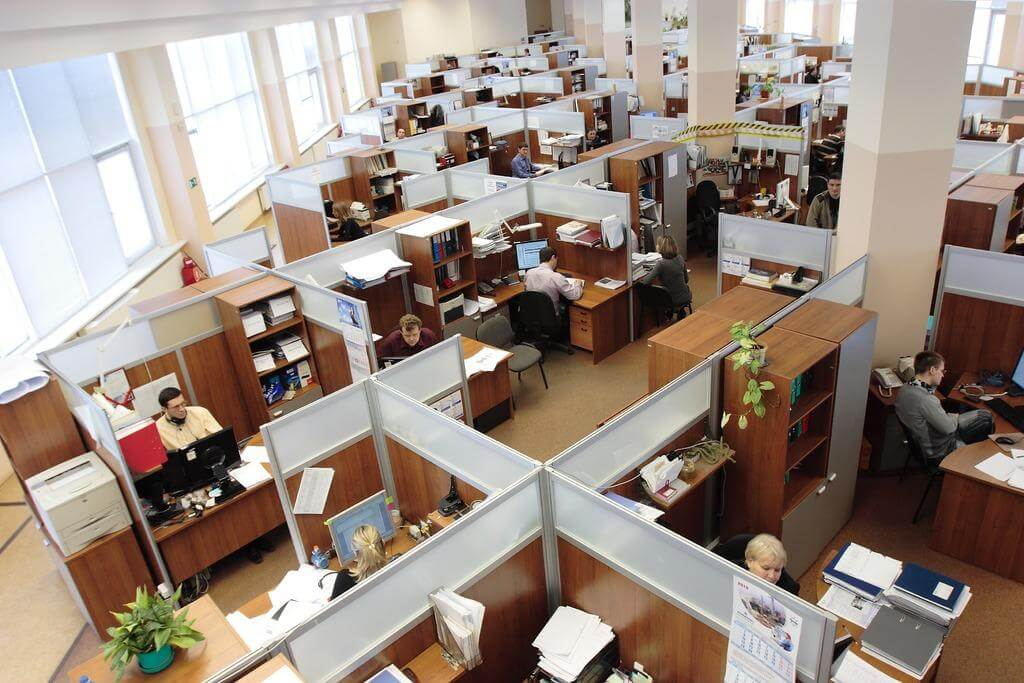 Cubicles were already on their way out as office design in the 2000s started looking to the future